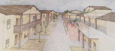 Rendered Sketch of Transitional Housing
